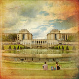 The fountains of the Trocadero in front of the Palais de Chaillot in vintage style. Paris, France royalty free stock photo