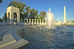 Fountains at the U.S. World War II Memorial commemorating World War II in Washington D.C. Royalty Free Stock Photo