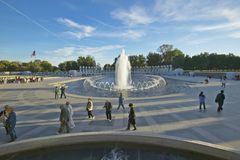 Fountains at the U.S. World War II Memorial commemorating World War II in Washington D.C. Stock Images