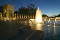 Fountains at the U.S. World War II Memorial commemorating World War II in Washington D.C. at dusk Stock Image