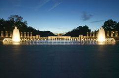 Fountains at the U.S. World War II Memorial commemorating World War II in Washington D.C. at dusk Royalty Free Stock Photography