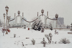 Fountains under the snow. Ashkhabad. Turkmenistan Stock Photo