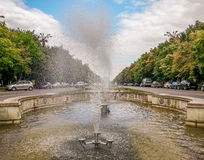 Fountains from Uniri boulevard, Bucharest Royalty Free Stock Photos
