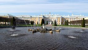 Fountains in the upper Park in Peterhof.Saint-Petersburg.Russia. stock footage