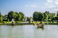Fountains in the upper Park in Peterhof , St. Petersburg Stock Photography