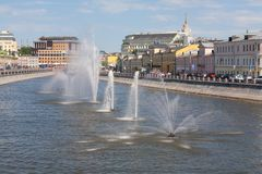 Fountains in Vodootvodny Canal in Moscow Royalty Free Stock Photos