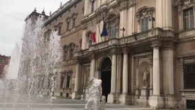 Fountains and water jests in the square behind the italian army academy. Modena, palazzo ducale e piazza roma, 04 19 2018 stock footage