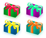Four. Gifts with isolated on white Royalty Free Stock Image