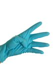 Four. Blue gloved hand. Counting till four Royalty Free Stock Photo