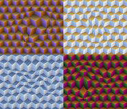 Four 3D Distorted Cubes Seamless Patterns. Vector Illustrations • 3D Illusions Using Distorted Cubes • Seamless Patterns Royalty Free Stock Image