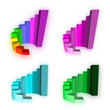 Four 3D Growth bar graph. On white Royalty Free Stock Photo