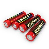 Four AA batteries. Set of four AA type batteries isolated over white Stock Image