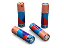 Four AA Batteries. Four R6 size AA batteries (3d render Royalty Free Stock Image