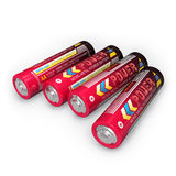Four AA batteries. Set of four AA batteries isolated on white background Stock Photos