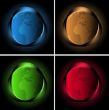 Four abstract background with neon lights and globe Stock Photos