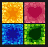 Four abstract backgrounds. With symbols of a star, a snowflake, heart and plant Royalty Free Stock Image