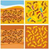 Four abstract backgrounds with footsteps. Royalty Free Stock Photos