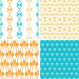 Four abstract blue yellow berry shapes seamless. Vector four abstract blue yellow berry shapes seamless patterns set in matching color scheme Stock Photo
