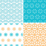 Four abstract blue yellow floral shapes seamless patterns set Stock Image