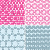 Four abstract chain motives seamless patterns set Royalty Free Stock Photo