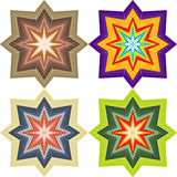 Four abstract colored symmetric star Stock Photo