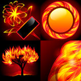 Four abstract flame backgrounds. Set of four flame backgrounds. Circle, tree, flower, flame Royalty Free Stock Photography