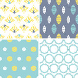 Four abstract fun motives seamless patterns set Stock Photo