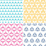Four abstract geraldic geometric pink seamless Royalty Free Stock Photos