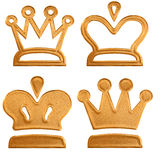 Four abstract golden pattern crown Royalty Free Stock Images