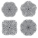 Four abstract mandalas. Set of four hand drawn abstract mandalas.Vector illustration Stock Photography