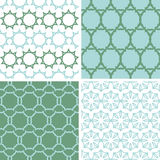 Four abstract moss green motives seamless patterns Stock Photos