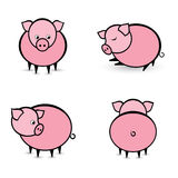 Four abstract pigs in different positions. Illustration on white background Royalty Free Stock Photography