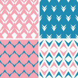 Four abstract pink blue arrows geometric pink seamless patterns set. Vector four abstract pink blue arrows geometric pink seamless patterns set in matching color royalty free illustration