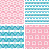 Four abstract pink blue folk motives seamless. Vector four abstract pink blue folk motives seamless patterns set in matching color scheme vector illustration