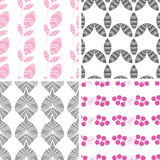 Four abstract pink gray textured leaves seamless Royalty Free Stock Image