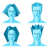Four abstract polygon portraits Stock Images