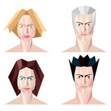 Four abstract polygon portraits Stock Photo