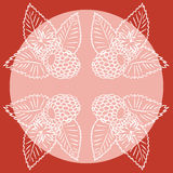 Four abstract raspberry. Natural background in red and white colors Royalty Free Stock Photo