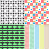 Four abstract retro seamless simple patterns Stock Photos