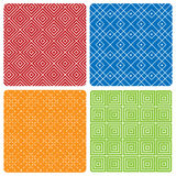 Four abstract seamless patterns. Lines and squares on different background colors Royalty Free Stock Photography