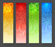 Four abstract vertical banners. Four abstract floral stylized vertical banners. Vector Set of colorful design elements Stock Image