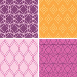 Four abstract wire shapes seamless patterns set Royalty Free Stock Photos