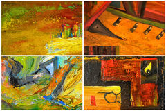 Four Abstracts. Beautiful Collage collection of four Abstract paintings Royalty Free Stock Image