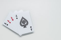 Four Ace cards on white background and selective focus Royalty Free Stock Photo