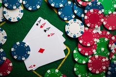 Four ace in poker game Stock Images