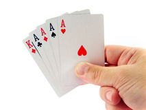 Four ace poker in hand Royalty Free Stock Images