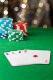 Four ace on a poker table Stock Photos