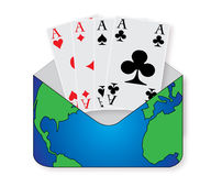 Four aces. For the world cup tournament in a envelop Stock Photo