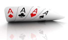 Four aces. On white - 3D render stock illustration