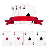Four aces. With red banner Stock Photo